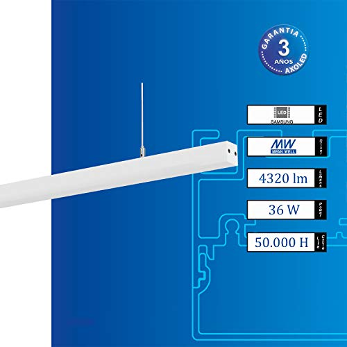 Luminaria Lineal suspendida - LED Samsung, Luz Neutra 3000/4000, IP40, CRI > 80, Reducidas Dimensiones. (36)