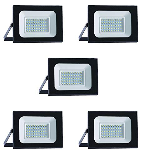 SET di 5 Faro Led FLOODLIGHT DYA da esterno IP65 (4000K LUCE NATURALE, 30W 2400Lumen)