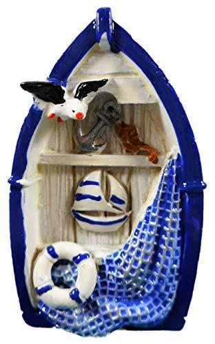 Imán de barco 7 x 4 cm, flotador marítimo, gaviota, barco, ancla, red, pescado, estrella de mar, imán para nevera, figura decorativa 17870 A