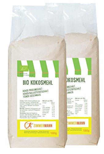 Bio Kokosmehl 2er Pack (2 x 1000g) - Hoher Proteingehalt - Hoher Ballaststoffgehalt - glutenfrei - von Zimmermann Sportnahrung