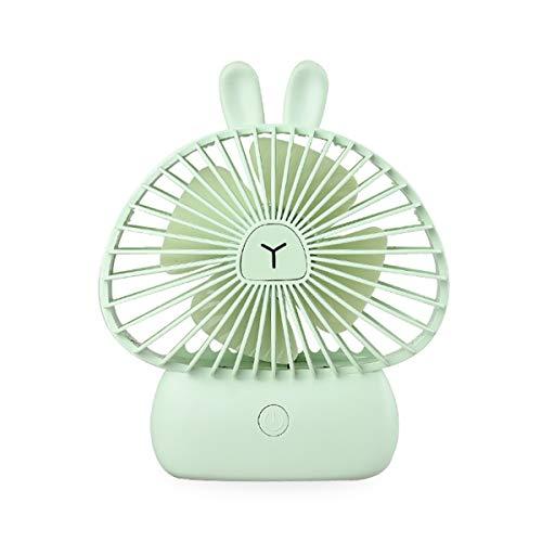 EKOHOME Mini Ventilador USB Silencio 4W Portátil Ventilador de Mesa Enfriamiento 3 Velocidades con 7 Colores Luz LED Lindo Conejo Ventilador para Niños Chicas Casa Oficina Colegio (Verde)