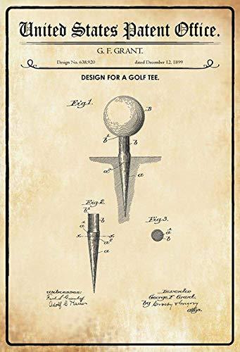 NWFS patent ontwerp voor een golfbal - houder (golftee) metalen bord bord bord metaal plaat plaat metaal tin teken gewelfd gelakt 20 x 30 cm