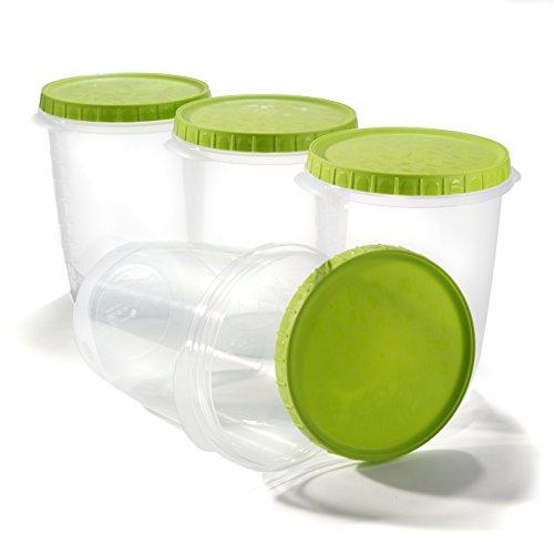 Pots de conservation soupe boite plastique bol micro ondes salade stockage alimentaire avec Couvercle 1L - Lot de 4
