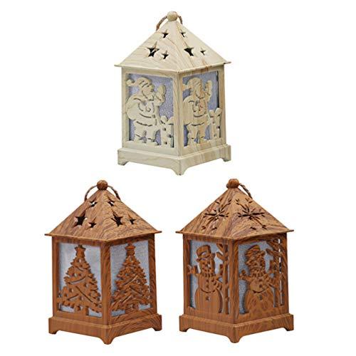 Uonlytech - 3 piezas de casa de Navidad con iluminación LED con decoración navideña colgante de madera para árbol de Navidad colgante muñeco de nieve