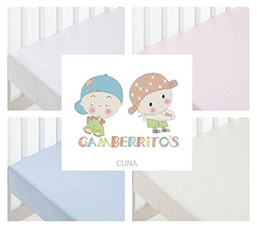 GAMBERRITOS - Sábana Bajera Cuna Adaptable 60X120 Disponibles (Blanco)