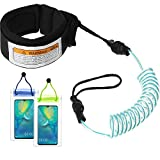 <span class='highlight'><span class='highlight'>Frienda</span></span> Sup Leash Coiled, 6 Feet Stand Up Paddle Board Leash Surfboard Strap Surfing Bodyboard Ankle Leash with 2 Waterproof Phone Case Wallet