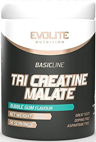 Evolite Nutrition Tri Creatine Malate 300g - Flavour Creatine Powder - Creatine like Pre Workout Booster - Muscle Building Powder - Aroma in Polvere Senza Calorie (Gomma da Masticare)