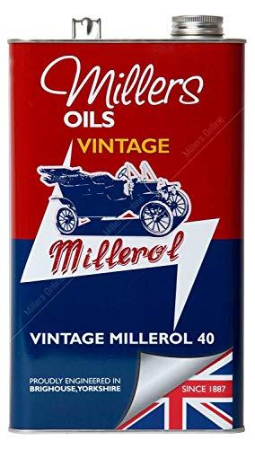 Millers Vintage Millerol 40 Motorolie Monograde Niet-wasmiddel, 5 liter