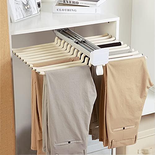 LJ Perchero extraíble para Pantalones Organizador de Ropa Antideslizante Perchero para Pantalones 22 Brazos Aleación de Aluminio Barra de suspensión para Organizadores de Ropa