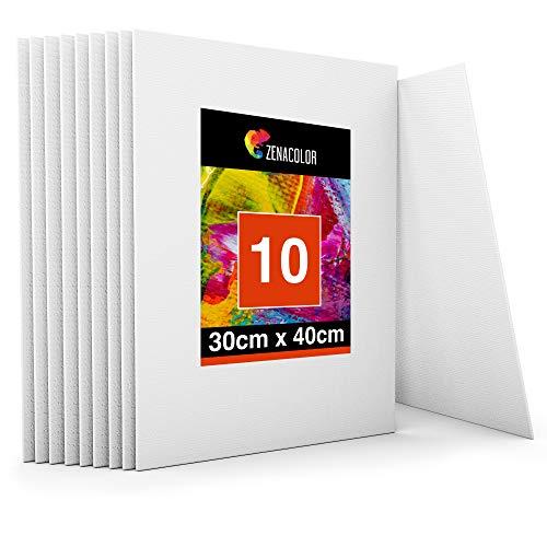 Zenacolor - Set di 10 Tele - Tele per Dipingere 30 x 40 cm - Tutti i Tipi di Pittura su Tela - 100% Cotone Senza Acidi.