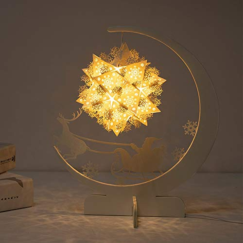 FHUA Lámpara Escritorio Lámpara de iluminación de Papel Lámpara de Escultura DIY Material/Origami Nightlights/Cultural y Creativo Regalo (Color : Yellow)