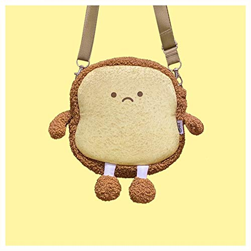 Spielzeuge Emotional Brot Toast Plüschkissen Glückliche wütende Cartoon mit Beinen S-XL Snack Decor Lebensmittelkissen (Color : 18cm Dark Brown Bag)