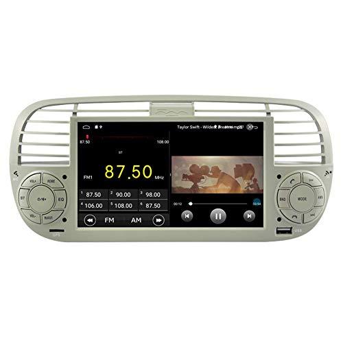 BWHTY Android 10 Reproductor de DVD para Coche GPS Unidad Principal estéreo Navi Radio Multimedia WiFi para Fiat F500 Control de Volante WiFi BT