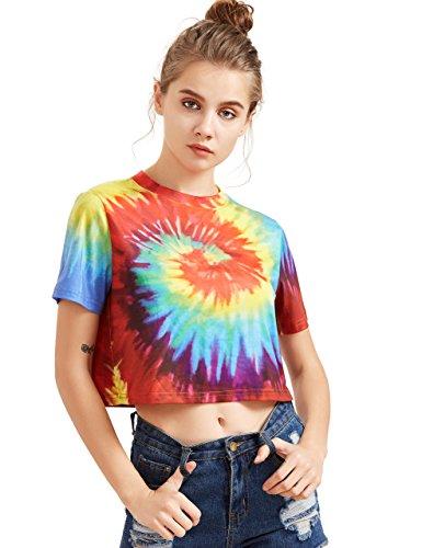 SheIn Women's Tie Dye Print Round Neck Short Sleeve Crop T-Shirt Top Medium Multicolor
