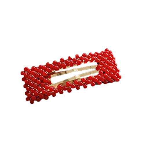 llwei258 Corean Style Metal Alloy BB Hair Clips Cute Red Plastic Faux Pearl Embellishment Hairpins Geometric Shape Hollow Out Snap Barrettes 7 Styles