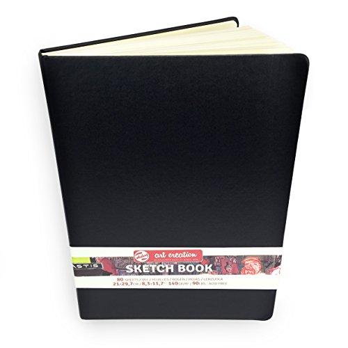 Royal Talens – Art Creation Hardback Sketchbook – 80 Sheets – 140gsm – 21 x 29.7cm – Black Cover