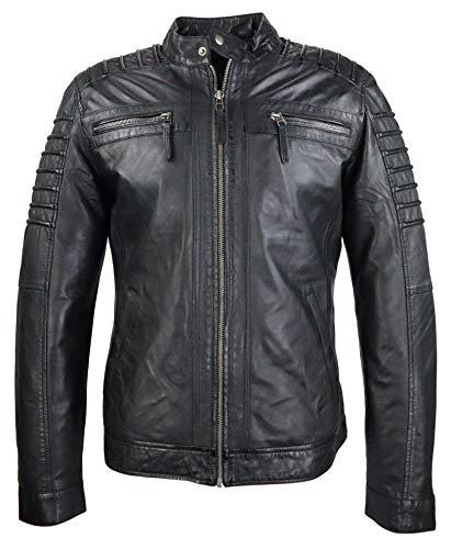 RICANO 12815, Herren Lederjacke/Bikerjacke aus echtem Lamm Nappa Leder (Glattleder) in schwarz, Cognac braun oder Bordeaux rot (Schwarz, M)