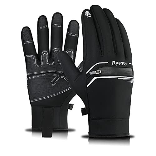 Ryesoy Winter Gloves for Mens Womens Touch Screen Fingers Gloves Warm Insulated Anti-Slip Windproof Cycling Riding Running Outdoor Work for Men Women