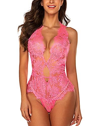 Avidlove Body de encaje de mujer de una pieza Lencería profunda V Teddy Mini Babydoll, Rosa Roja, XL