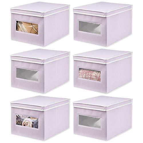 mDesign Juego de 6 Cajas de Tela – Práctico Organizador de armarios con Tapa para Dormitorio, salón o baño – Caja de almacenaje apilable de Fibra sintética Transpirable – Lila Claro/Blanco