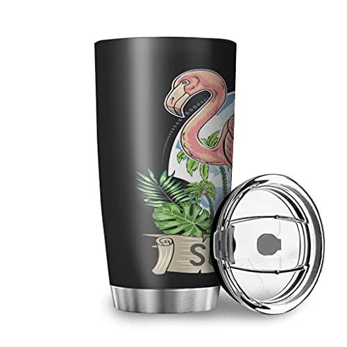 Buweirezhi Framingo - Tazza da viaggio con palma tropicale da 20 oz, in acciaio inox a doppia parete isolato sottovuoto, disponibile in diversi motivi, 600 ml
