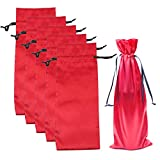 10pcs Satin Red Wine Bags with Drawstrings,Perfect for Travel, Wedding, Birthday, Housewarming and Dinner Party Giving(15'*6')