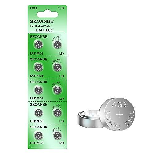 SKOANBE 10PCS LR41 392 384 192 AG3 SR41 1.5V Button Coin Cell Battery