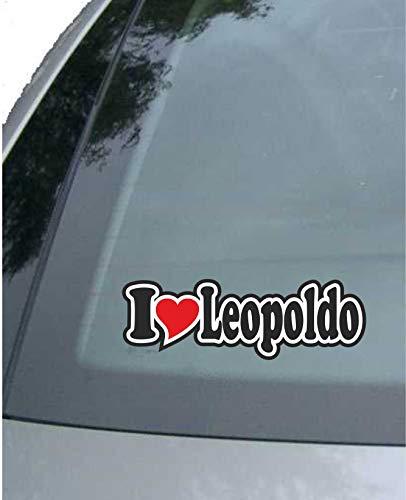 JINTORA - Adesivo Auto - I Love Heart - Amo con Il Cuore 15 cm - I Love Leopoldo - Camion Finestra Laptop - Adesivo con Il Nome dell'uomo Donna Bambino