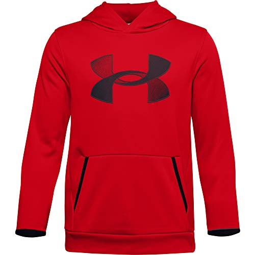 Under Armour Jungen Aufwärmoberteil Armour Fleece Big Logo Hoodie, Red// Black (600), S, 1357577-600