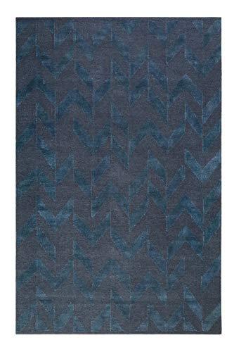 Esprit Home I Feel4U Kelim - Tappeto a pelo corto in lana e cotone - Passatoia per soggiorno, corridoio, camera da letto I Feel4U Kelim I Petrol I (80 x 150 cm)