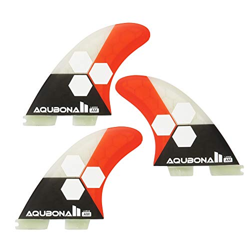 AQUBONA FCS II AM FINS Surfboard Fiberglass Fins for Surfing with Fin Bag, Screws and Fin Key(Red Large)