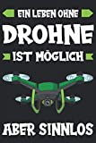 Drohne Quadrocopter Drohnenpilot Drohne fliegen Drone Notizbuch: Drohne mit Kamera | Mini Drohne | Drohne für Kinder und Profis