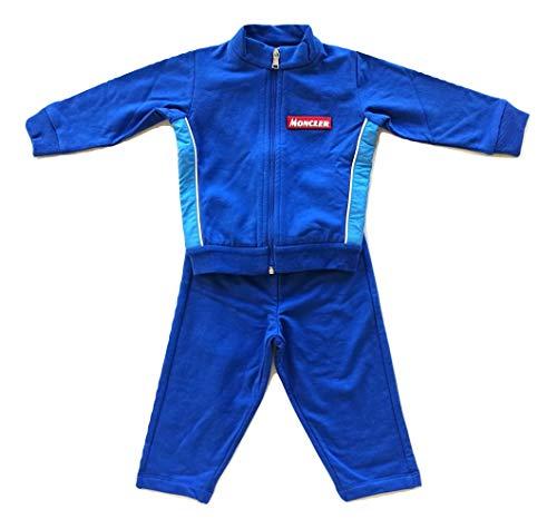 Moncler Junior-Overall mit Kapuzenpullover und Hose für Kinder von 9 bis 12 Monaten, Blau