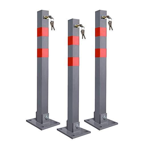 UISEBRT 3x Parkplatzsperre Parkpfosten Klappbar mit 3 Schlüssel - Robust und Stabil Absperrpfosten Sperrpfosten (3 Stück)