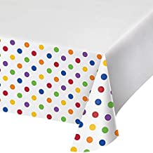 Creative Converting Multicolour Dots and Stripes Tablecloth