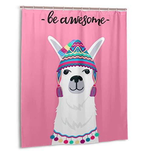 Blived Cortina de baño,Impermeable,Alpaca En Un Sombrero con Borlas. Fun Quote Be Awesome,Cortina de Ducha de con Ganchos 180cmx180cm