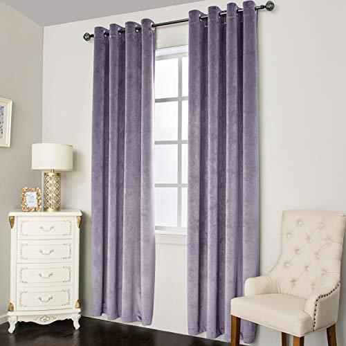 Super Soft Luxury Velvet Curtains for Living Room Light Blocking Velvet Curtain Panels Privacy Grommet Window Drapes for Bedroom/Sliding Glass Door, 2 Panels (Purple, 38W96L)