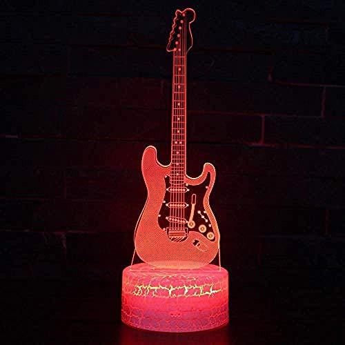 3D illusie lamp elektrische gitaar bedlampje DIY mannen en vrouwen verjaardag creatief geschenk witte basis mooie 7 kleurverandering cadeau