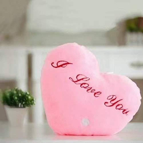 WUX Glowing Plush Heart Pillow, Flu…