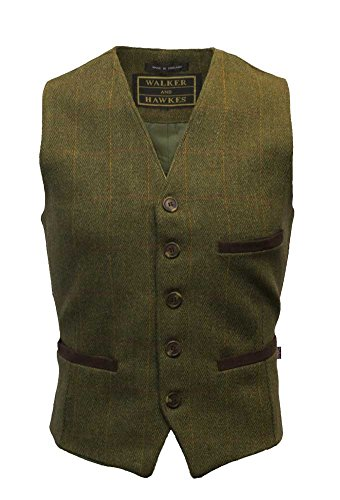 WALKER AND HAWKES - Gilet in Tweed Formale - Rivestito in Teflon - Uomo - Salvia Scuro - X-Large