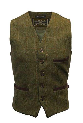 Walker and Hawkes - Chaleco de Tweed para Hombre - Estilo Formal - Revestido con teflón - Salvia Oscuro - XS (36'-38')