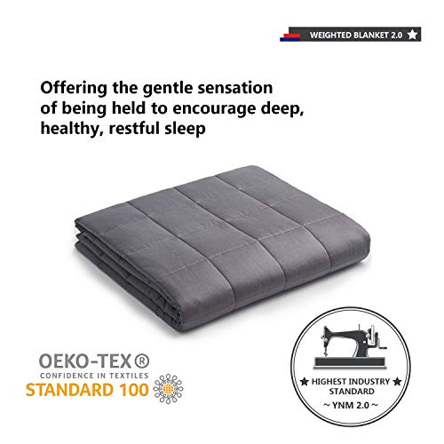 YnM Weighted Blanket (20 lbs, 60''x80'', Queen Size) for People Weigh Around 190lbs | 2.0 Cozy Heavy Blanket | 100% Oeko-Tex Certified Cotton Material with Premium Glass Beads, Dark Grey …