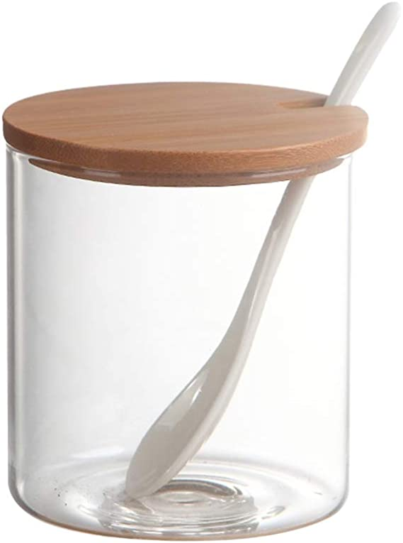 Porzellan Zuckerdose f/ür Zucker Gew/üRz Gew/üRz Glas f/ür die K/üChe SODIAL Zucker Dose mit Deckel und L?Ffel 2 Pack Servieren 8,54 Unzen Keramik Zucker Glas mit L?Ffel Salz