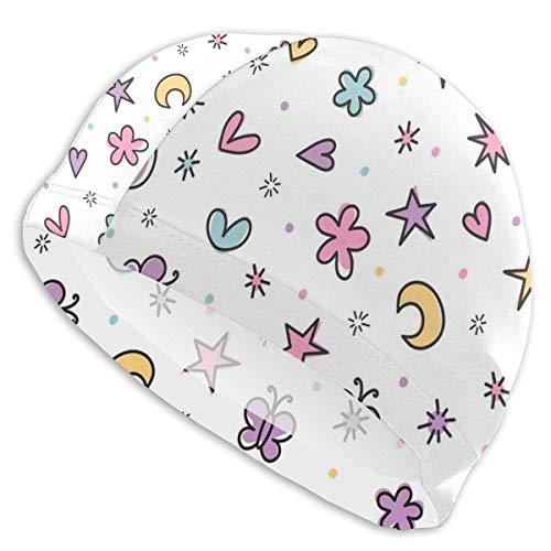 HFHY Papillons colorés Coeurs et étoiles Bonnet de Bain Lady Bonnet de Bain, personnalité Adulte Adolescent Fille Polyester Bonnet de Bain