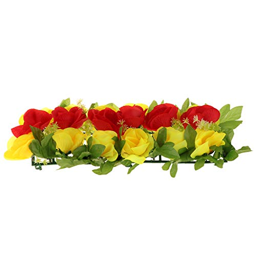 FLAMEER Künstliche Rosen Wand Grabblumen Grab Blumengesteck Grabdekoration für Gestorbene Freunde und Verwandte - Gelb und Rot
