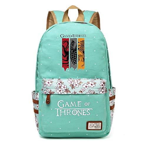 AUGYUESS Juego de Tronos mochila de lona para la escuela, bolsa de hombro