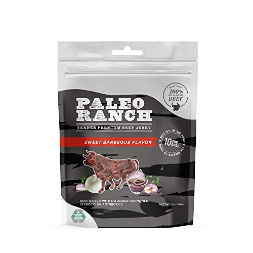 PALEO RANCH Grass-Fed Beef Jerky, All Natural, No Added Hormones, No Preservatives, 2-oz. Pouches, Sweet BBQ, 8-Pack