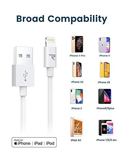 Rampow Lightning Kabel, iPhone Ladekabel - Apple MFi Zertifiziert - iPhone Kabel Kompatibel mit iPhone 12, iPhone 11, iPhone XS, iPhone XR, iPhone X, iPhone 8, iPhone 7, iPhone 6, iPad - iOS 14 - 1M Weiß