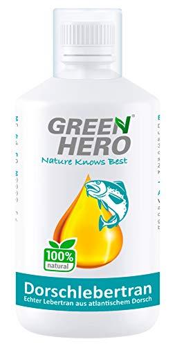 Green Hero Premium Dorschlebertran 500 ml für Hunde, Katzen und Pferde - Fischöl reich an Vitamin A, D3 und Omega 3 Fettsäuren - Barf Zusatz - Lebertran für Welpen und Jungtiere