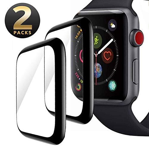 Screen Protector for Apple Watch 44mm Series 5/4, [2 pack] Max Coverage Anti-Scratch Bubble-Free with Black Edge 3D Curved Tempered Glass Film Compatible with iWatch 44mm